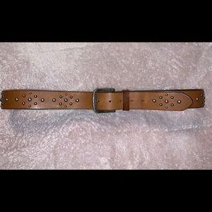 "Brown Studded Leather Belt XXL 37-41"""